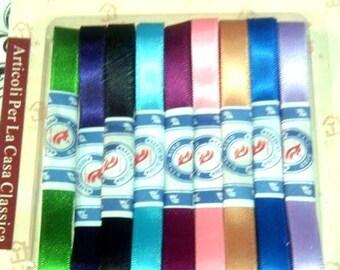 9 satin ribbons sewn various colors