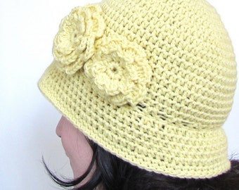 Instant Download Crochet Pattern - Cloche Hat Pattern - Cloche Hat with Two Flowers - Womens