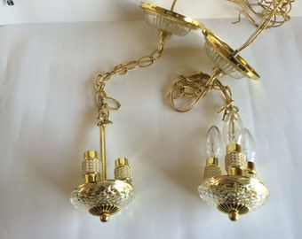Pair of Schonbek Petite Mini Crystal Three Light Pendants Chandeliers