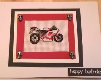 red and white motorbike