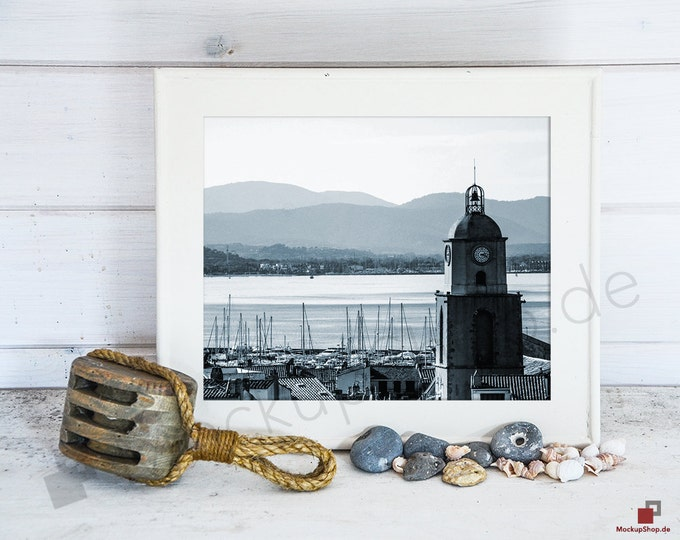 MARITIME FRAME MOCKUP 8x10 // empty frame mockup // mockup background nordic / Instand Download Mockup / Mockup Scandinavian // Nordic Frame