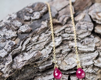 Ruby earrings/Genuine Ruby Earrings/Ruby stone earrings/Ruby Dangle earrings/Ruby Drop Earrings/July Birthstone/Ruby ear Threaders