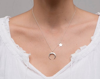 Sterling Silver Moon and stars necklace/Luna necklace/Crescent Moon Necklace