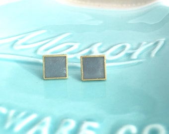 Gray square post earrings