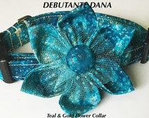 Pretty Teal Flower Collar for Female Dog or Cat