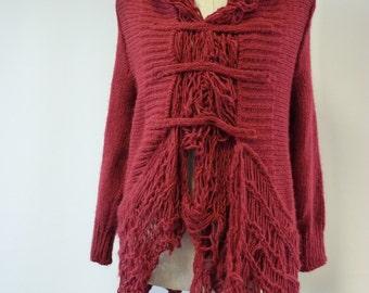 Sale. Boho burgundy sweater, M size. One-of-a-kind.