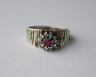 Vintage Sterling Silver Cluster Ring - Vintage Silver Ring - Vintage Cluster Ring - Vintage Ring - Vintage Engagement Ring N 1/2 7