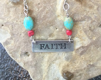 Faith Pendant Necklace with Magnesite Beads