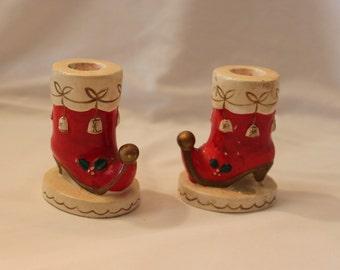 Vintage Christmas Boot Candle Holder Set