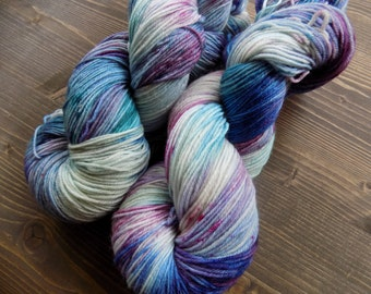 Hand Dyed Yarn, Hand Painted Yarn, MCN, Merino Cashmere Nylon, Blue Purple Pink Teal