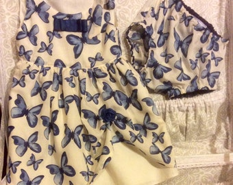 Butterflies print dress baby size 18 months in cotton