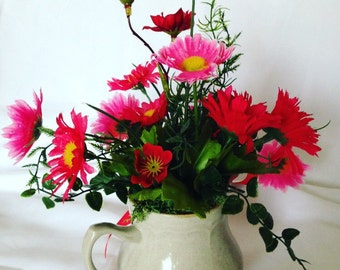 Tea Cup Red/Pink Flower Arrangment, Centerpiece - Spring in a Cup