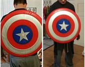 "24"" Captain America Inspired Shield - Wooden Hand-Made Replica with Adjustable Backpack Straps!"
