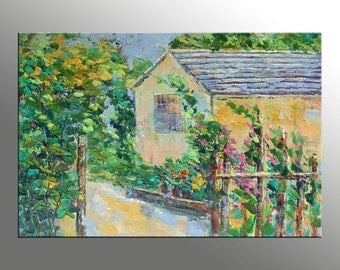 Landscape Painting, Oil Painting, Palette Knife Painting, Art on Canvas, Modern Art, Wall Decor, Home Decor, Landscape Oil Painting, Garden