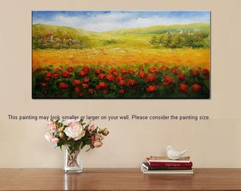 Landscape Painting, Flower Field Painting, Canvas Art, Oil Painting, Wall Art, Abstract Art, Abstract Painting, Canvas Painting, Large Art