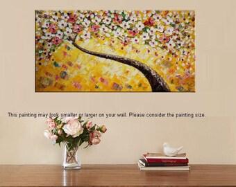 XL Large Painting Canvas Art Framed Art Original Art Abstract Art Impasto Texture Palette Knife Art Canvas Painting Flower Tree Painting