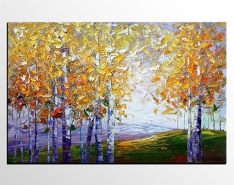 Birch Tree Painting, Large Art, Abstract Art, Landscape Painting, Living Room Art, Canvas Art, Oil Painting, Wall Art, Abstract Painting