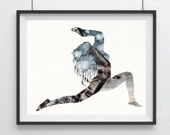 Watercolor Yoga Art Pose - Warrior - Yoga Art Pose - color texture