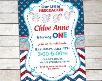 4TH OF JULY  Invitation Birthday Printable, Patriotic Invitation, 4th of July Party Chalkboard