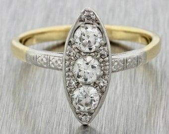 1920s Antique Art Deco 14k Yellow Gold Platinum .65ctw Diamond Navette Ring