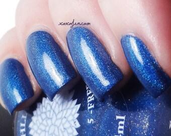 Navy Blue Holo Shimmer Nail Polish with Gold Glass Flecks -- Lady Bird Lake by Black Dahlia Lacquer