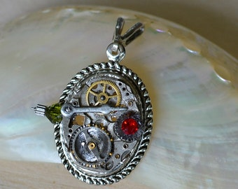 Vintage Watch Part Steampunk Pendant Swarovski Crystal