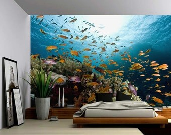 Underwater decals etsy for Diving and fishing mural