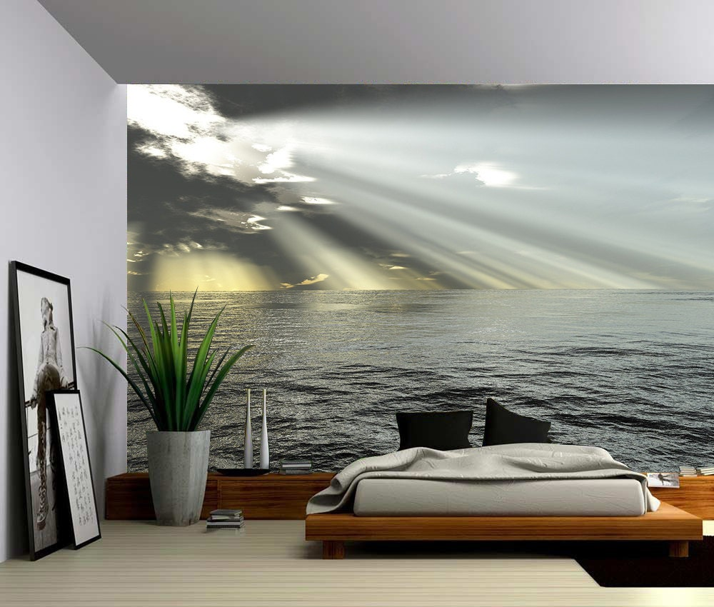 Seascape ocean rays of light large wall mural self adhesive for Mural lighting