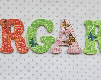 Wooden nursery letters - green and orange with butterflies