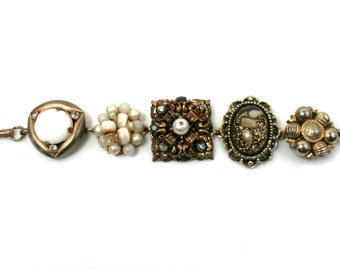 Vintage gold chunky bracelet statement bracelet ooak repurposed jewelry
