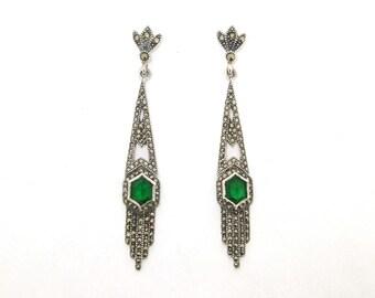 Art Deco Earrings Emerald Green Silver Marcasite