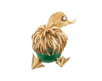 Vintage Ciner Brooch Green Enamel Duck Bird
