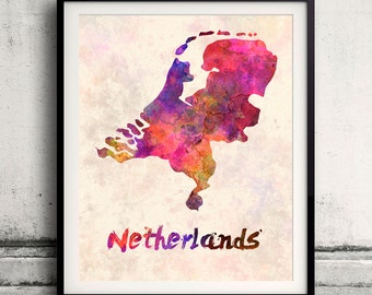 Netherlands - Map in watercolor - Fine Art Print Glicee Poster Decor Home Gift Illustration Wall Art Countries Colorful - SKU 1898