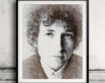 Bob Dylan portrait 03 in pen & watercolor - Fine Art Print Glicee Poster Gift Illustration Artist Poster - SKU 2128