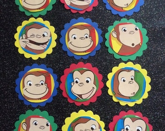 Curious George cupcake toppers and upcycled book