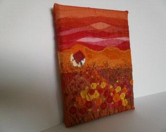 Textile Art Meadow Cottage. Fibre Art