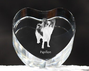 Papillon, crystal heart with dog, souvenir, decoration, limited edition, Collection