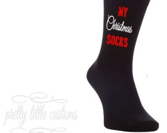 My Christmas Socks! print mens socks - xmas, sants, presents, funny, cute,  gift/present
