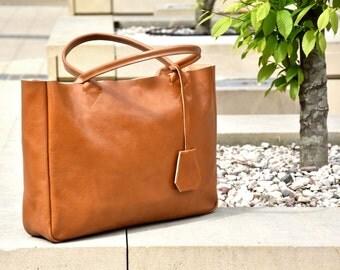 Camel Brown Leather Tote Bag - Handmade Leather Tote - BELLA Medium