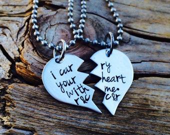 Personalized Hand Stamped I Carry Your Heart With Me Zig-Zag Broken Heart Necklace Set - Best Friends, Soul Mates, Best Sisters - Stainless