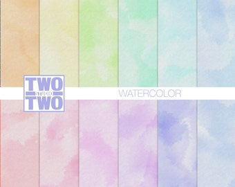 "Watercolor Digital Paper: ""PASTEL WATERCOLOR"" in Orange, Yellow, Pink, Green, Purple, Aqua, Violet, and Blue for Spring & Easter Backgrounds"