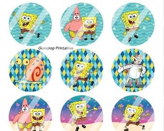Buy 3 Get 1 FREE Spongebob Squarepants 1 Inch Circles Bottlecap Images ~ Instant Download ~ Birthday Printable Image Sheet SB_13