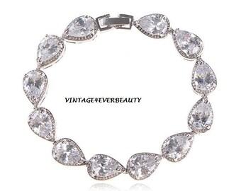Wedding Bracelet Tear Drop AAA Swiss CZ **White Crystal **Bridesmaid Bracelet