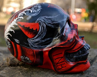 Unique Handmade Handpainted Japanese Hannya Mask Tattoo Art Ink Koi Fish Ceramic Sugar Skull MADE TO ORDER