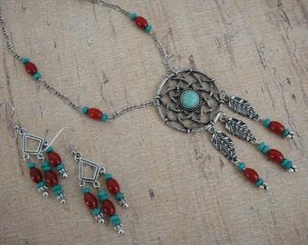 Southwestern Necklace - Western Necklace - Boho Necklace - Turquoise Necklace – Silver Necklace - Beaded Necklace - Chain Necklace