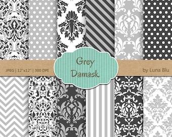 "Grey Damask Digital Paper: ""Grey Damask Patterns"" grey digital paper, neutral damasks for cardmaking, invitations, grey scrapbooking paper"