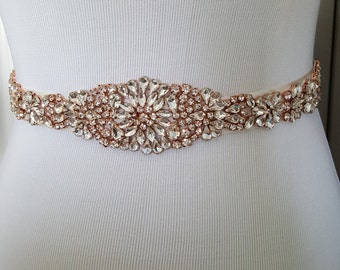 SALE - Rose Gold Wedding Belt, Rose Gold Bridal Belt, Rose Gold Sash Belt, Crystal Rhinestone, Style 113