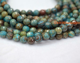 "15.5"" 4mm/6mm Turquoise blue Calsilica jasper round faceted beads, semi precious stone,blue brown gemstone beads"
