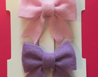2 Felt Sailor Bows in Light Pink & Light Purple
