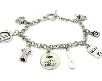 Coffee Lover Charm Bracelet, Coffee Charm Bracelet, Java Charm Bracelet, Espresso Charm Bracelet, Coffee Addict, Cup Of Joe, Coffee Jewelry